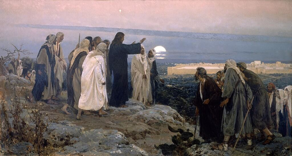 "Before entering Jerusalem for the last time, Jesus wept over its future. This painting by Enrique Simonet, is called ""Flevit super Illam"", the Latin for ""He Wept Over It"". It is in the Museum of Malaga."