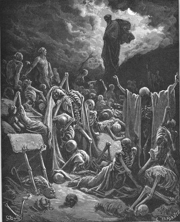 """Ezekiel's Vision of the Valley of Dry Bones (Ez. 37:1-14)"" by Gustave Doré"