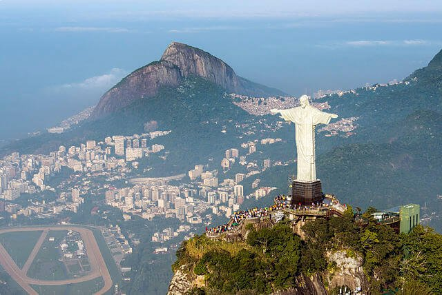 Christ the Redeemer statue in Rio de Janeiro, aerial view