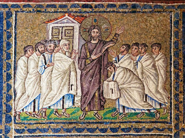 The risen Jesus appears to the disciples in the upper room. 22.4.2010: Sant'Apollinare Nuovo, Ravenna, Emilio Romagna, Italy.