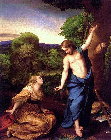 Jesus tells Mary Magdalene not to touch him, on Easter morning, after she recognizes him.