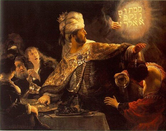 Belshazzar's Feast, by Rembrandt, showing the handwriting on the wall