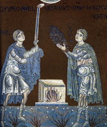 Abel and Cain offer their sacrifice to God. Byzantine mosaic in the Cathedral of Monreale.