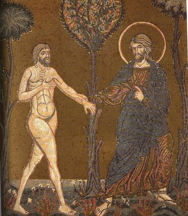Adam comes to Eden - mosaic in Monreale Cathedral