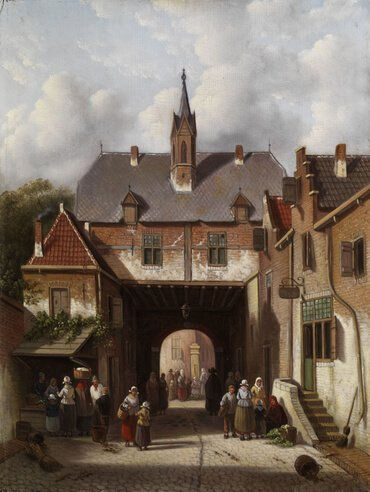 People around a village gate, by Adrianus Eversen