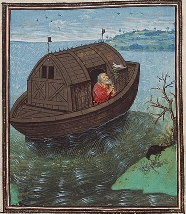 Noah sends off a dove from the ark.