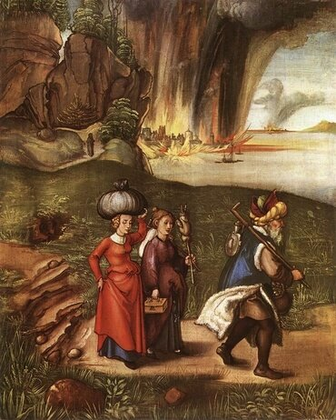 """Lot Fleeing with his Daughters from Sodom"" by Albrecht Dürer"