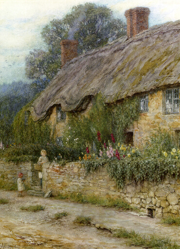 """A Mother and Child Entering a Cottage"" by Helen Allingham"