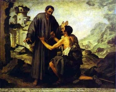 'Brother Juniper and the Beggar,' by Spanish Baroque painter Bartolomé Esteban Murillo. Juniper, one of the original followers of St. Francis of Assissi, was renowned for his generosity. When told he could no longer give away his clothes, he instead simply told the needy, like the beggar in the painting, that he couldn't give them his clothes, but wouldn't stop them from taking them.
