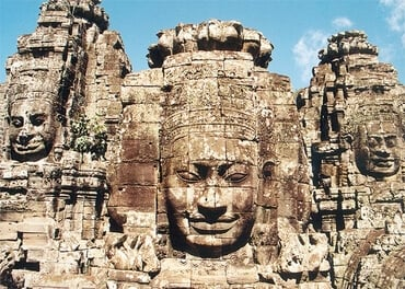 Face-towers depicting Bodhisattva Avalokiteshvara, Bayon-temple in Angkor, Cambodia (late 12th to beginning 13th century), by Manfred Werner