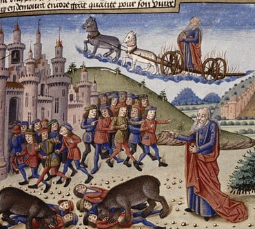 This print, from a medieval French manuscript, shows a relatively bald Elisha cursing the youths as the bears attack. Elijah rides a chariot overhead, having been taken up to heaven shortly before.