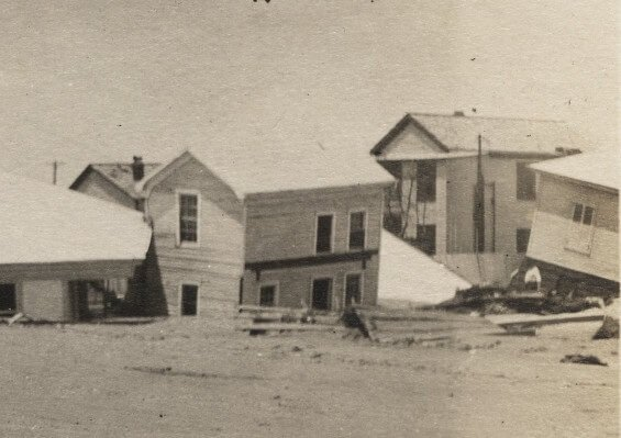 Some houses that were damaged by the Galveston hurricane of 1915.