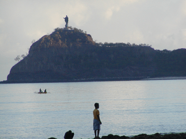 Dili Bay with Jesus statue