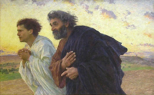 The disciples Peter and John running to the tomb on the morning of the Resurrection, a painting by Eugène Burnand