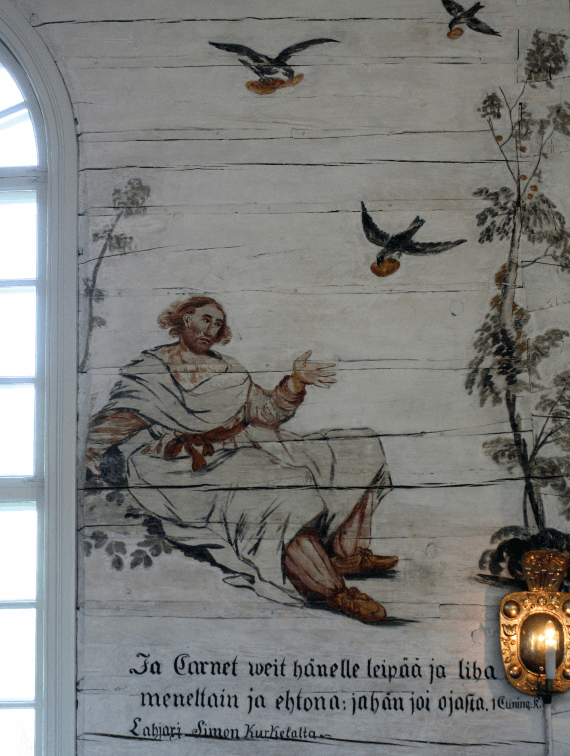 This mural of Elijah being Fed by Ravens is from Haukipudas Church, or Haukiputaan kirkko, in Finland.