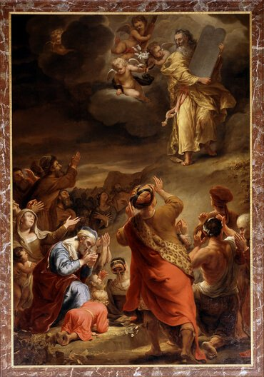 Moses descends from Mount Sinai with the Ten Commandments, by Ferdinand Bol