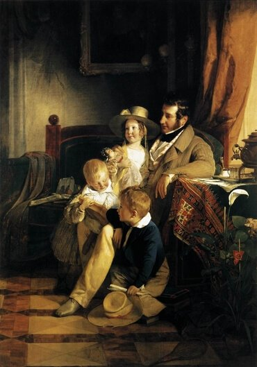 Rudolf von Arthaber with his Children, by Friedrich von Amerling