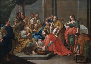 Christ washing the feet of the apostles.