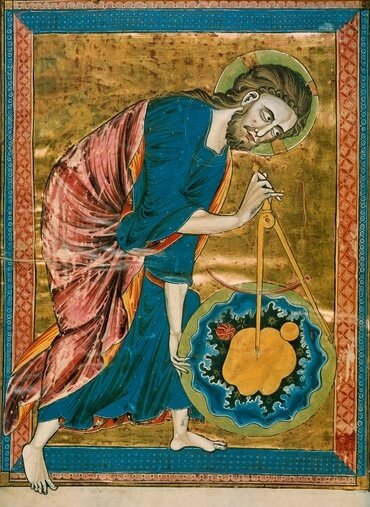 Nicknamed 'God the Geometer,' this  artwork shows God using geometric principles in creating the earth. It is the Frontispiece of Bible Moralisee, in the Codex Vindobonensis 2554 (French, ca. 1250), in the Österreichische Nationalbibliothek.