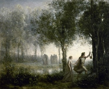 Orpheus Leading Eurydice from the Underworld, by Jean-Baptiste Camille Corot