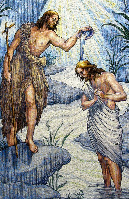 The new mosaic of John the Baptist and Jesus can be seen inside the Gate of Heaven Mausoleum. The Catholic mausoleum is located on Ridegdale Avenue in East Hanover, NJ, USA.