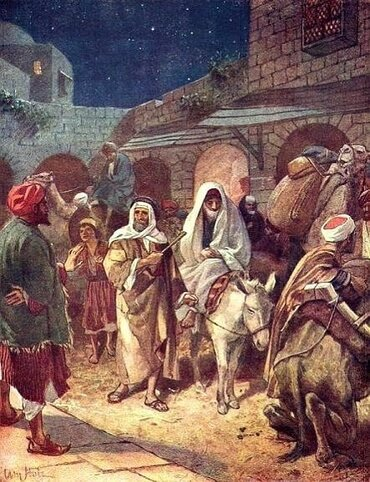 Joseph and Mary arrive in Bethlehem, by William Brassey Hole