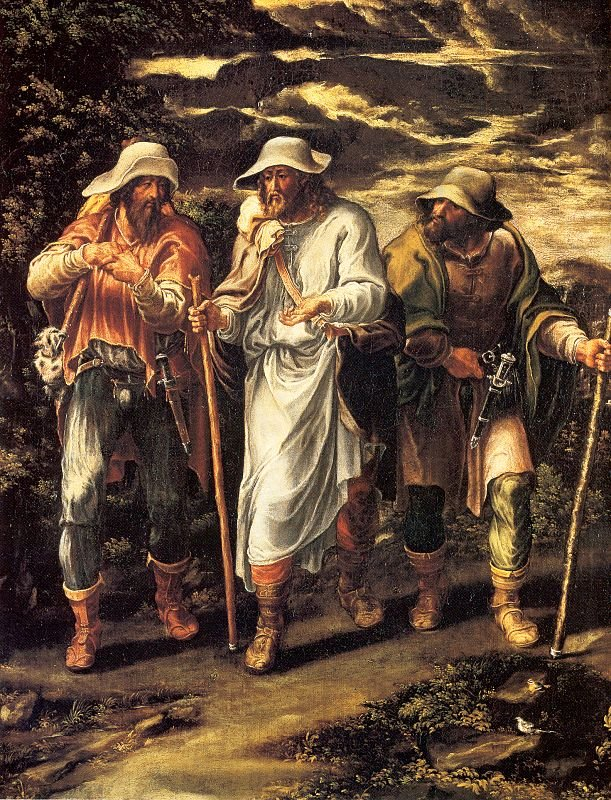 Camino de Emaús, by Lelio Orsi, shows Jesus walking with two of his disciples, who haven't yet recognized him.
