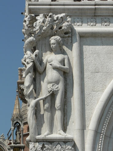 This relief, showing Eve taking fruit from the serpent, is on the  Palazzo Ducale in Venice, dating from the 14th century