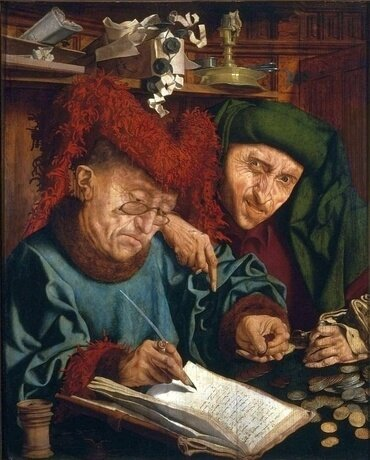 "Dutch artist Marinus van Reymerswale painted ""The Two Tax Collectors"" in the 1540s."