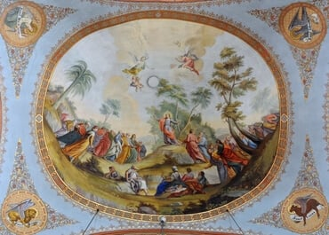 This fresco was created by Franz Xaver Kirchebner in the Parish church of St. Ulrich in Gröden, Italy, which was built in the late 18th century.