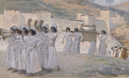 The Seven Trumpets of Jericho, c. 1896-1902, by James Jacques Joseph Tissot (French, 1836-1902) or follower, gouache on board, 7 5/16 x 12 1/16 in. (18.7 x 30.7 cm), at the Jewish Museum, New York