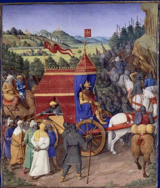 """Triomphe de Josaphat"" by Jean Fouquet. Licensed under Public Domain via Wikimedia Commons.  The picture shows Jehoshaphat re-entering Jerusalem after his victory over Adad, the King of Syria."