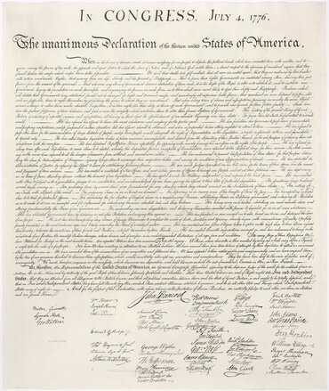 The United States Declaration of Independence, copied by William Stone in 1823.