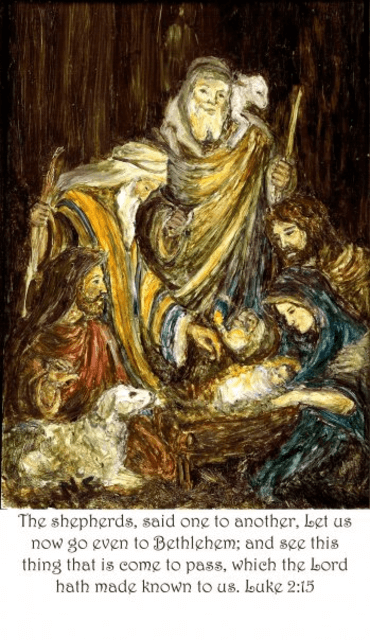 This painting by Nana Schnarr shows the scene in Bethlehem, where the infant Lord has been born.
