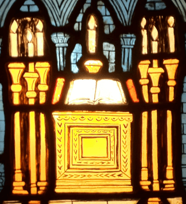 Seven alter lamps in stained glass, Bryn Athyn Cathedral