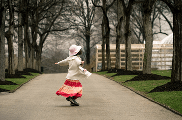 girl dancing on Frick path